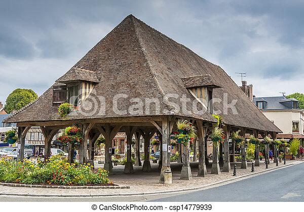 Historic market hall Lyons la Foret - csp14779939