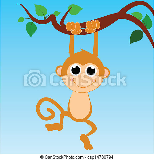 monkey hanging from a tree on abstract sky background - csp14780794