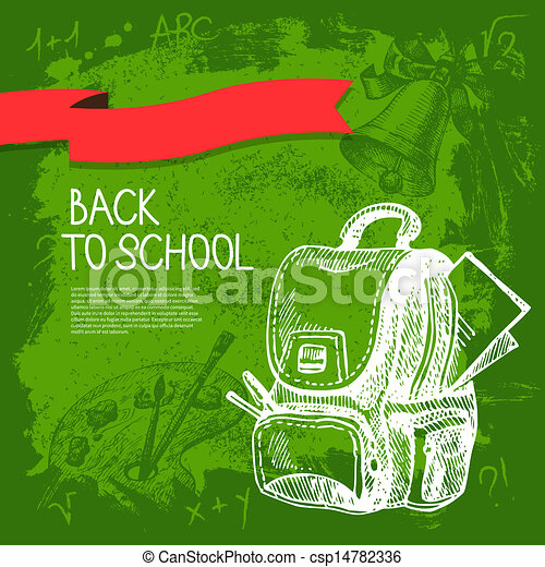 Back to school vector design. Hand drawn vintage  background - csp14782336