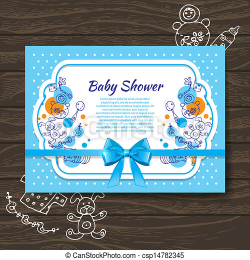 Sweet baby shower invitation with doodle baby toys  - csp14782345