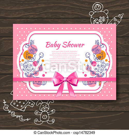 Sweet baby shower invitation with doodle baby toys  - csp14782349