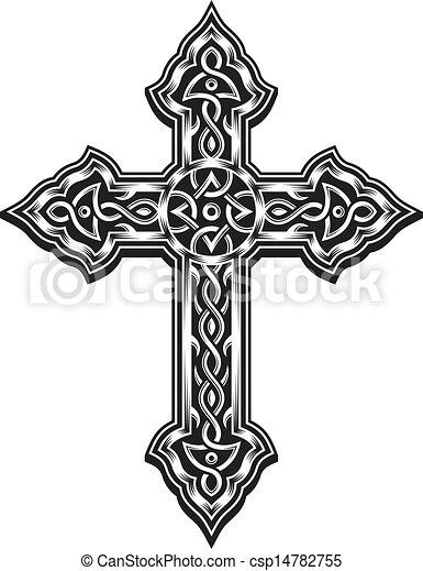 Clipart vectorial de cristiano, cruz, florido - editable, vector ...