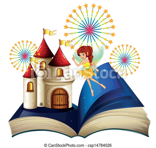 A Storybook With A Flying Fairy Eps Vector Instant