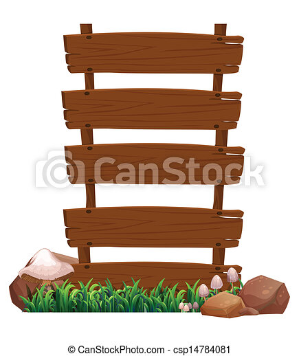 Illustration of an empty wooden signboard with rocks and mushrooms at the bottom on a white background  - csp14784081