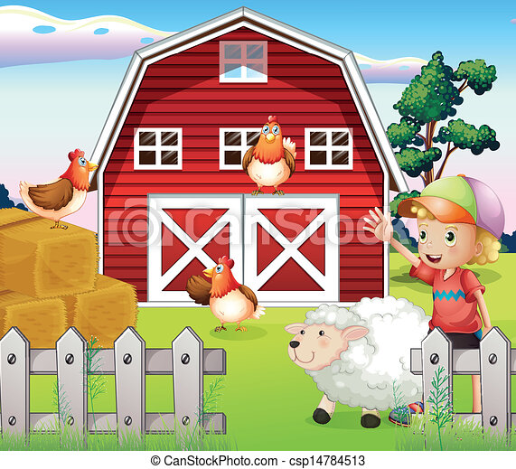 Vector clip art of a boy at the farmhouse with animals for Farm table plans drawings