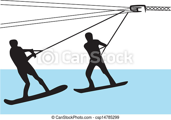 EPS Vectors of water skiing silhouette vector - two people water ...