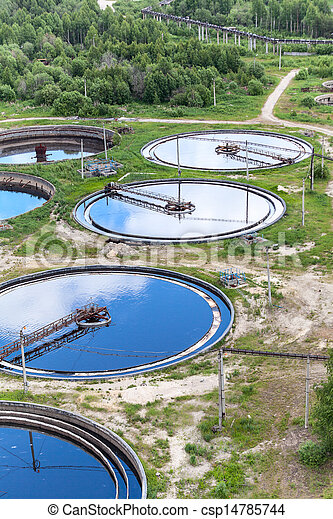 Group of round water treatment units in ab industrial factory - csp14785744