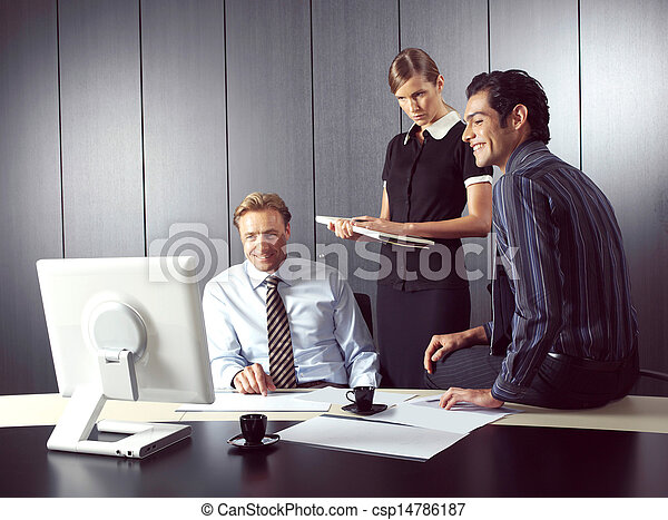 Business people working on computer  - csp14786187