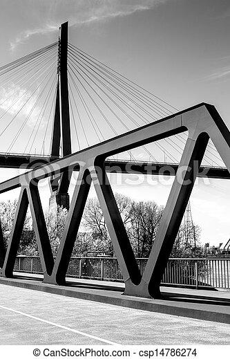 Hamburg Harbour Bridges black  - csp14786274