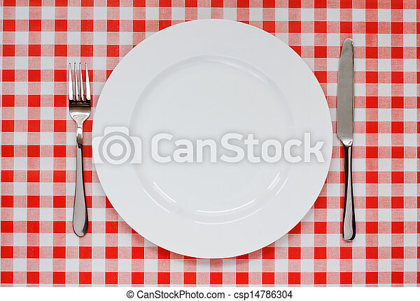 Place setting on red Gingham tablecoth - csp14786304