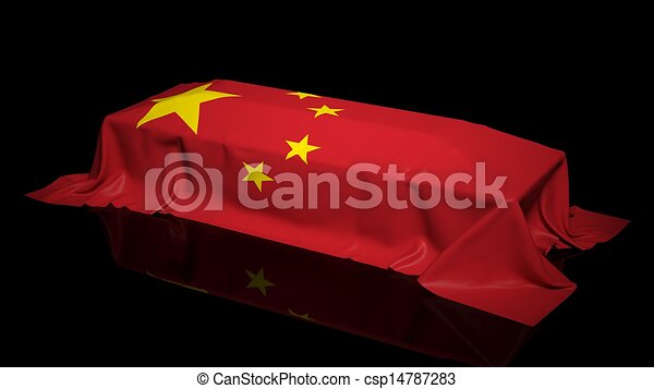 Coffin covered with the flag of China - csp14787283