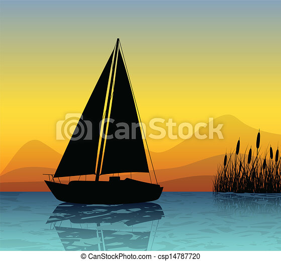 Vector Illustration of Sailing boat silhouette on a lake - Sailing boat and reed... csp14787720 ...