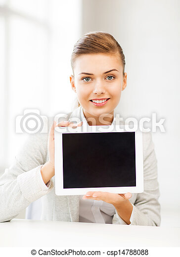 businesswoman with tablet pc in office - csp14788088