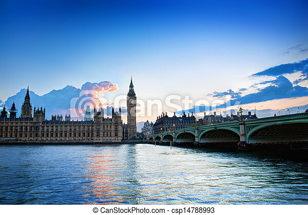 London, the UK. Big Ben, the Palace of Westminster at sunset - csp14788993