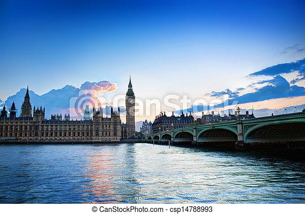 London, the UK. Big Ben, the Palace of Westminster at sunset - csp14788993