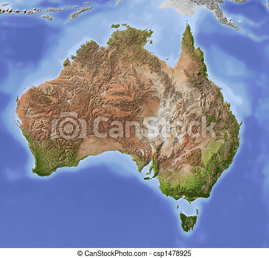 Australia, shaded relief map - csp1478925