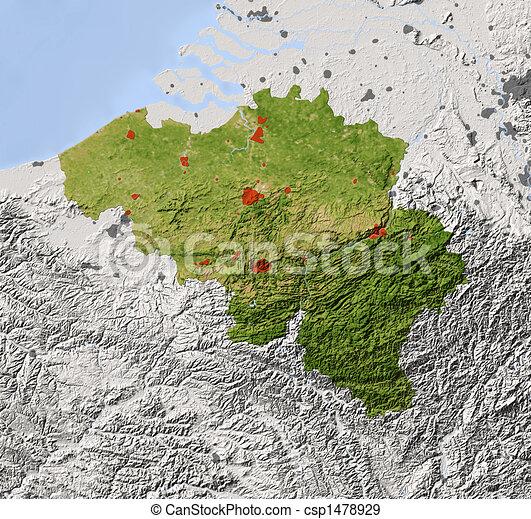 Belgium, shaded relief map - csp1478929