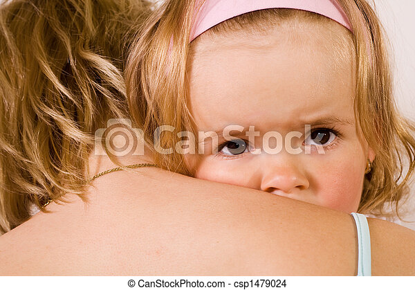 Little girl cuddling with her mother - closeup - csp1479024