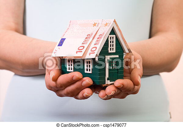 Home insurance concept with euro banknotes - csp1479077