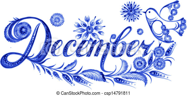 Vector Clip Art of December the name of the month ...