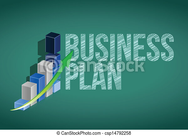 Clipart Vector Of Business Plan And Graph On A Chalkboard Illustration Design Csp14792258