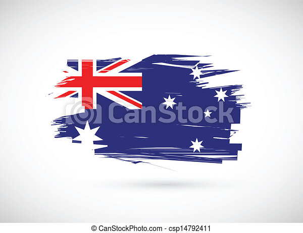 grunge ink australian flag illustration - csp14792411