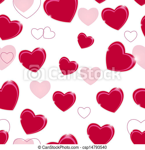 Happy Valentines Day seamless pattern background with heart. Vector illustration - csp14793540