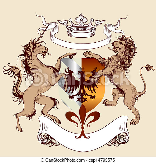 Vector heraldic illustration in vintage style with shield, armor, lion and horse for design - csp14793575