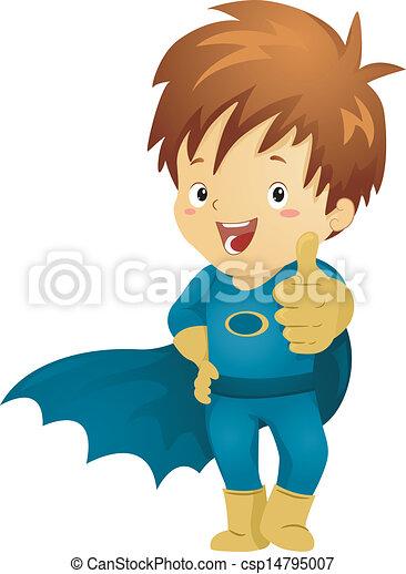 Vector - Little Kid Boy Superhero Making OK Sign - stock illustration ...