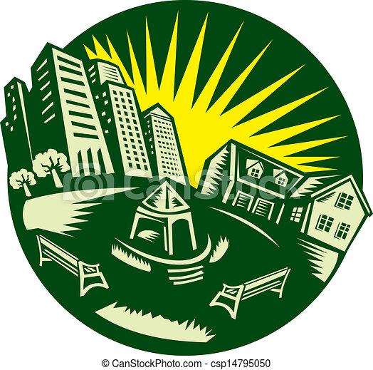 Clipart Vector of Urban Building Park House Woodcut ...