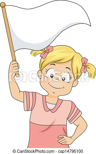 Vector Clipart of Little Kid Girl Waving a Blank White Flag ...