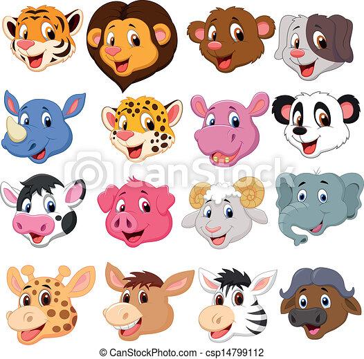 Cartoon animal head collection set - csp14799112