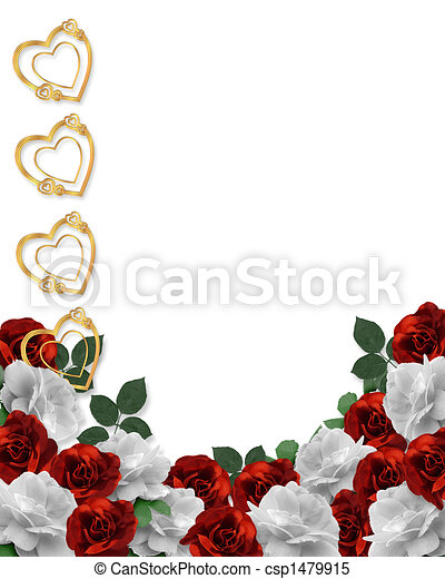 Valentine or Wedding Border Roses - csp1479915