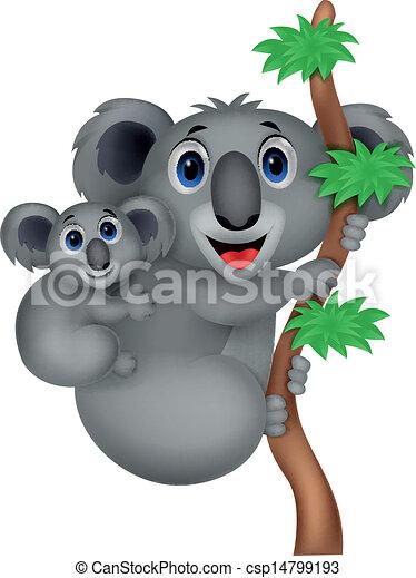 Vecteur - mère, bébé, koala, dessin animé - Banque d'illustrations ...