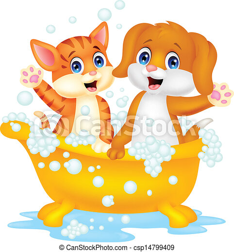 Cute cartoon cat and dog bathing ti - csp14799409