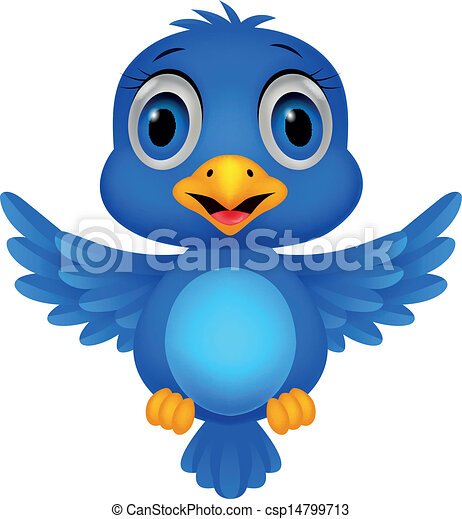 Cute blue bird cartoon - csp14799713