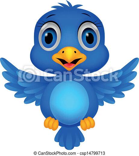 Cute blue bird cartoon  - csp14799713