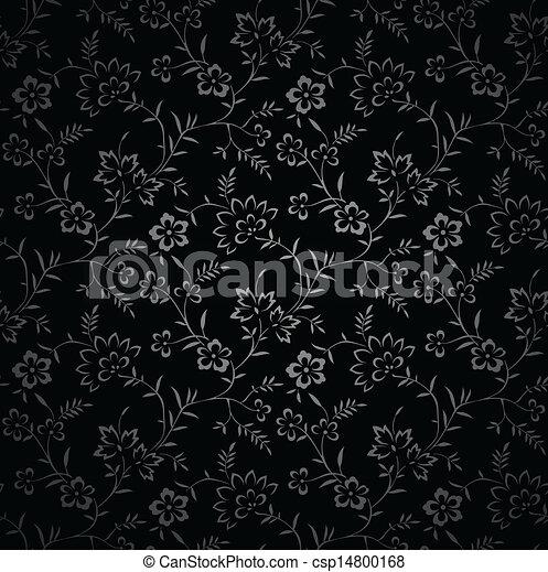 Clip Art Vector of Seamless royal black wallpaper ...