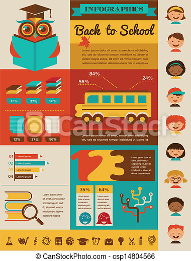 back to school infographic, data and graphic elements - csp14804566