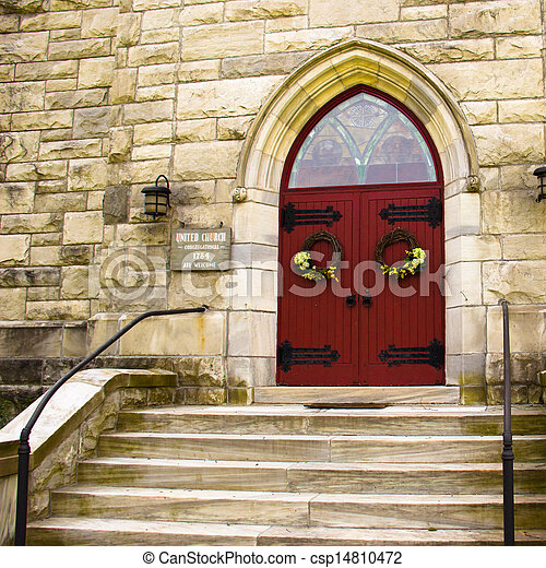 Steps to the Red Doors of a Church - csp14810472