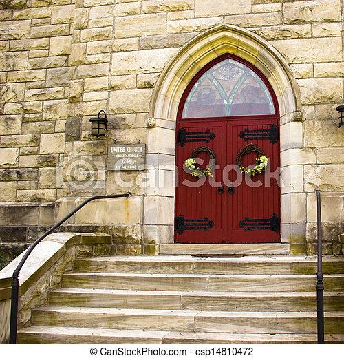 步驟, 紅色, 門, 教堂 - csp14810472