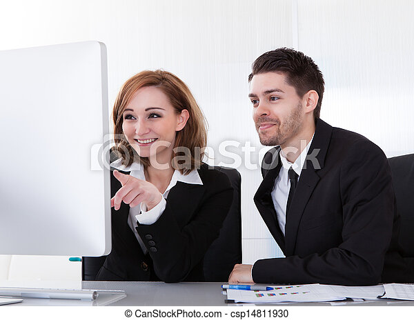 Two business partners looking at computer - csp14811930
