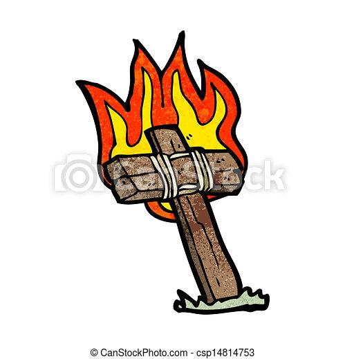 Cross Cartoon Drawing Vector Cartoon Burning Cross