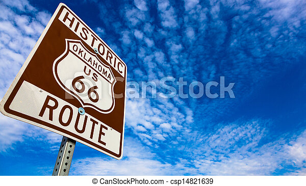 Historic Route 66 road sign on a blue sky - csp14821639