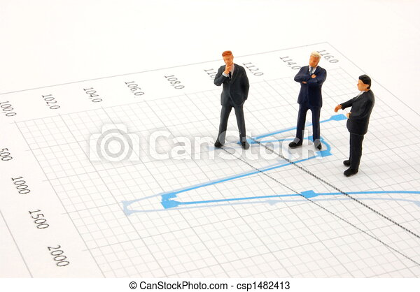 business people on chart background - csp1482413