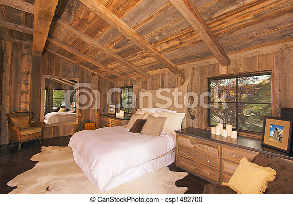 Luxurious Rustic Log Cabin Bedroom - csp1482700