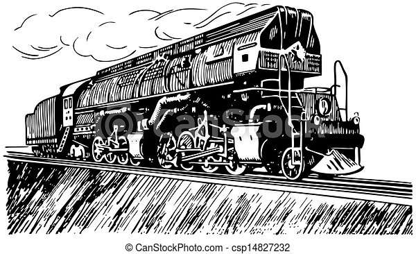 Vectors of Russian steam locomotive csp14827232 - Search Clip Art ...