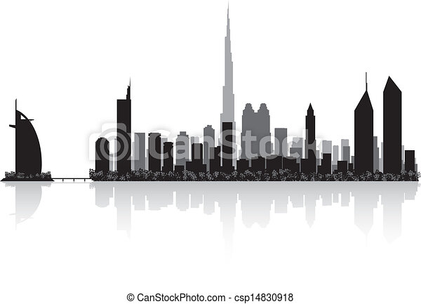 Dubai city skyline vector silhouette - csp14830918