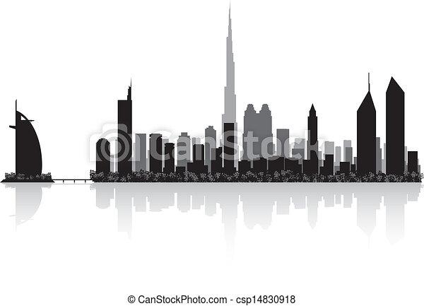 Dubai city skyline vector silhouette  - csp14830918