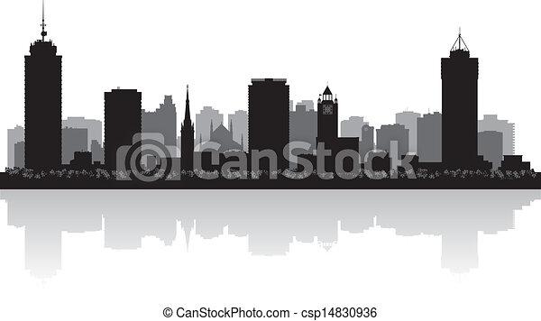 Hamilton Canada city skyline vector silhouette - csp14830936